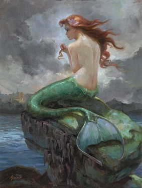 Little Mermaid Artwork Lisa Keene Limited Edition Giclee on Canvas At Odds With The Sea