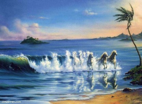 Jim Warren Jim Warren Limited Edition Giclee on Canvas Galloping Waves