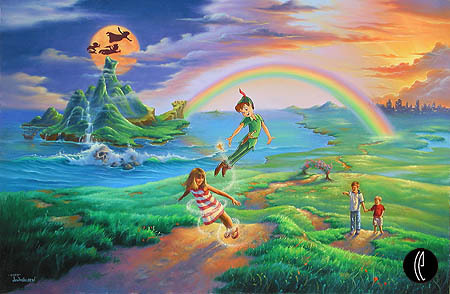 Jim Warren Jim Warren Limited Edition Giclee on Canvas If Only You Believe - Peter Pan