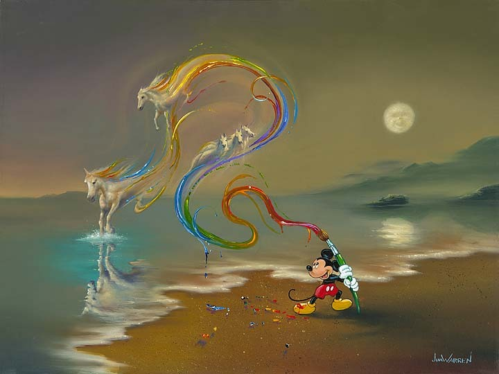 Jim Warren Jim Warren Limited Edition Giclee on Canvas Mickey the Artist