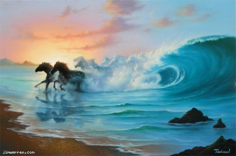 Jim Warren Jim Warren Limited Edition Giclee on Canvas Out Of The Blue