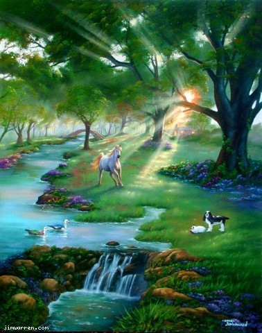 Jim Warren Jim Warren Limited Edition Giclee on Canvas River Life