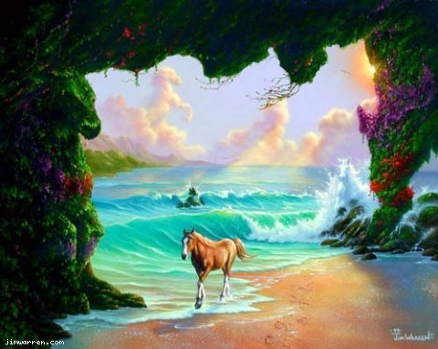 Jim Warren Jim Warren Limited Edition Giclee on Canvas Seven Horses