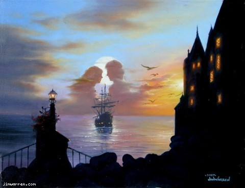 Jim Warren Jim Warren Limited Edition Giclee on Canvas Ship Of Romance
