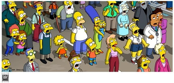 20th Century Fox Artwork 20th Century Fox Limited Edition Giclee on Canvas Simpsons Movie Crowd Aghast