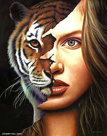 Jim Warren Jim Warren Limited Edition Giclee on Canvas Tiger Within
