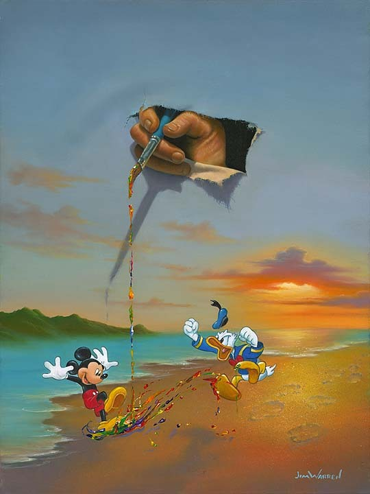 Jim Warren Jim Warren Limited Edition Giclee on Canvas Walt's Magic Brush