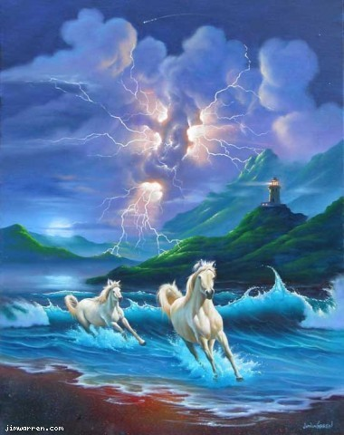 Jim Warren Jim Warren Limited Edition Giclee on Canvas White Lightning
