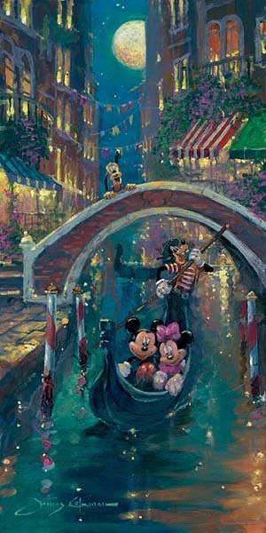 Mickey Mouse Artwork James Coleman Limited Edition Giclee on Canvas Moonlight in Venice