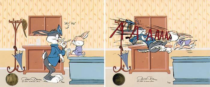 Chuck Jones on Sale! Chuck Jones Limited Edition Hand-Painted Cel Bugs Doctor: Say Ahh