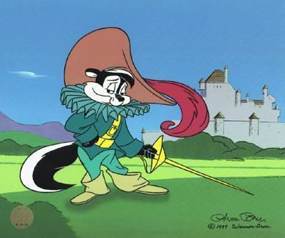 Pepe Le Pew Artwork Chuck Jones Limited Edition Giclee on Canvas Pepe Musketeer