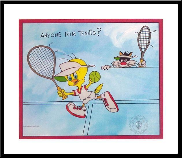 Sylvester Artwork Warner Brothers Limited Edition Sericel Anyone for tennis?