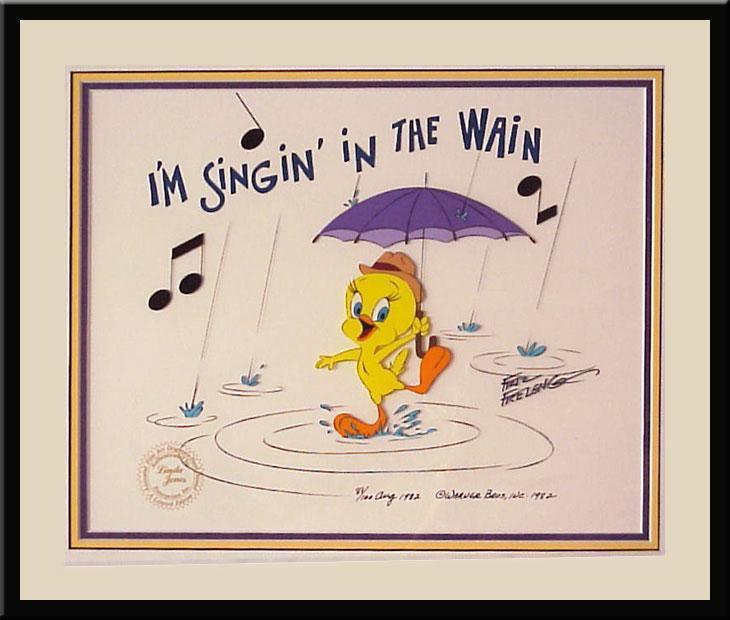 Tweety Bird Artwork Friz Freleng Limited Edition Hand-Painted Cel I'm Singin' in the Wain