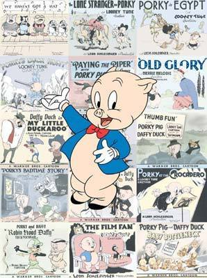 Tweety Bird Artwork Warner Brothers Limited Edition Hand-Painted Cel Porky Pig Lobby Card