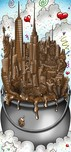 Charles Fazzino 3D Art Charles Fazzino 3D Art A Melting Pot of Chocolate... NYC (DX) - Framed