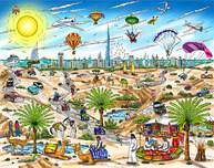 Charles Fazzino 3D Art Charles Fazzino 3D Art A View From The Dubai Desert (DX)