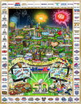 Charles Fazzino 3D Art Charles Fazzino 3D Art Celebrating 50 Years of Super Bowl (ALU) - Framed