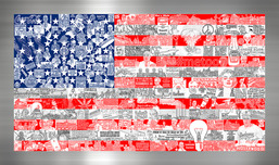 Charles Fazzino 3D Art Charles Fazzino 3D Art Historically... Our American Flag (ALU)