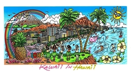 Charles Fazzino 3D Art Charles Fazzino 3D Art Kawaii in Hawaii (DX) - Framed