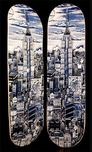 Charles Fazzino 3D Art Charles Fazzino 3D Art Manhattan Blue Skateboard Deck (Sculpture)