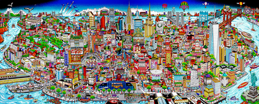 Charles Fazzino 3D Art Charles Fazzino 3D Art Manhattan Mural ... An Island Of Hopes & Dreams (PR) (Black)