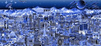 Charles Fazzino 3D Art Charles Fazzino 3D Art Midnight in Vegas (AP) (Blue)