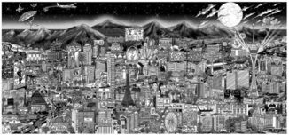 Charles Fazzino 3D Art Charles Fazzino 3D Art Midnight in Vegas (PR) (Black and White)