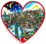 Charles Fazzino 3D Art Charles Fazzino 3D Art Night and Day... The Heart Beats for NY (SN)