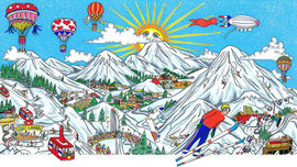 Charles Fazzino 3D Art Charles Fazzino 3D Art Ski Vacation (DX) - Framed