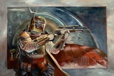 Star Wars Artwork Star Wars Artwork Boba Fett with Slave 1