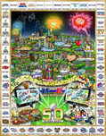 Charles Fazzino 3D Art Charles Fazzino 3D Art Celebrating 50 Years of Super Bowl (Poster)