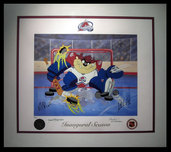 Tazmanian Devil Artwork Tazmanian Devil Artwork Devil of a Save - Colorado Avalanche (framed)