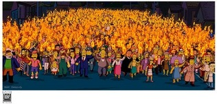 Simpsons Artwork Simpsons Artwork Mob with Torches