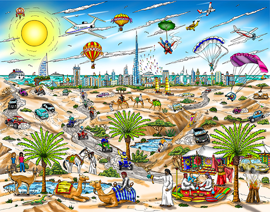 Charles Fazzino A View From The Dubai Desert (DX)