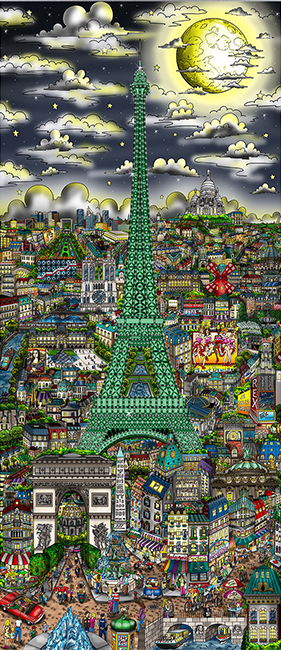 Charles Fazzino Midnight in Paris - Full Color Edition - DX