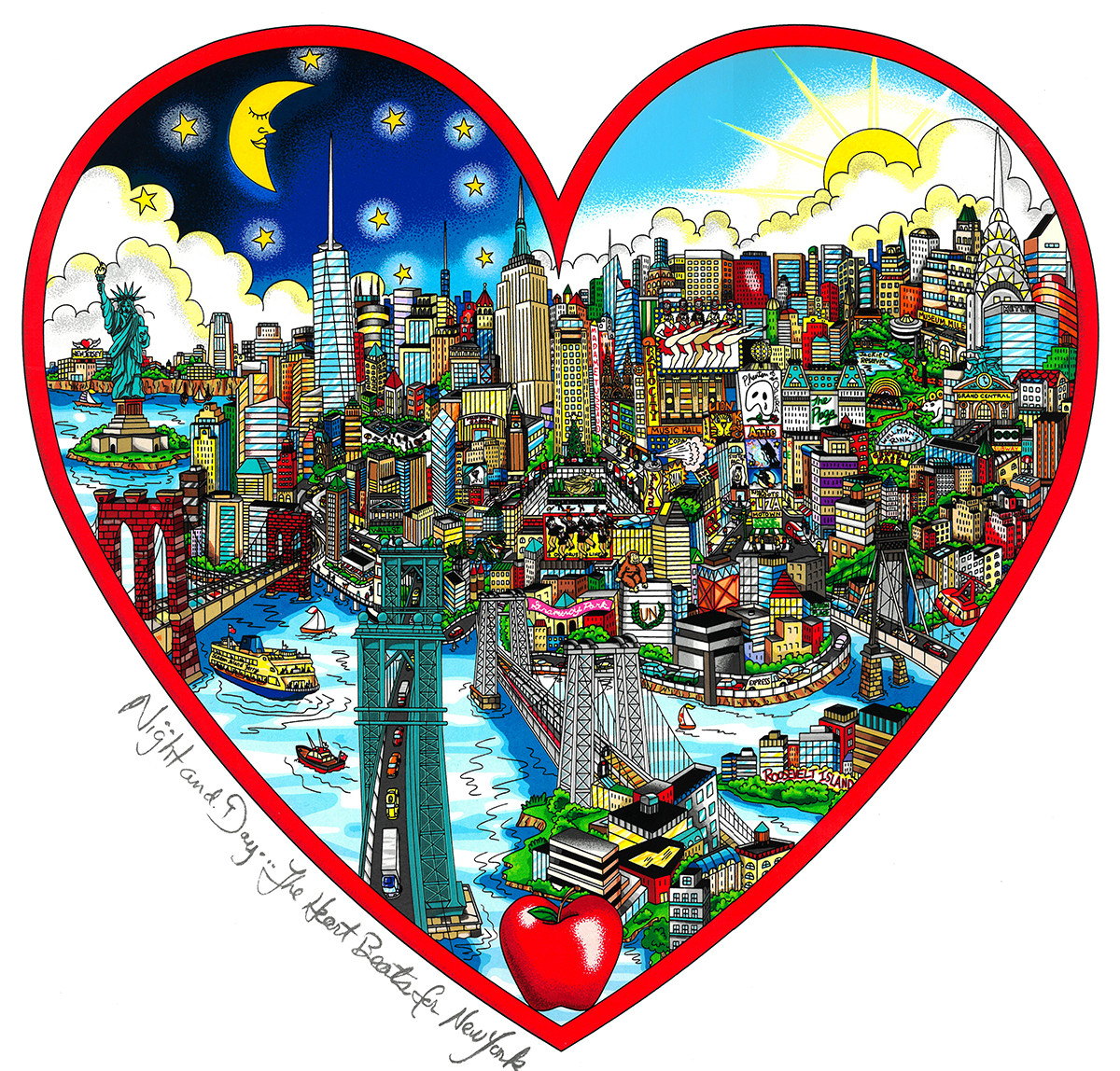 Charles Fazzino Night and Day...The Heart Beats for NY (DX)
