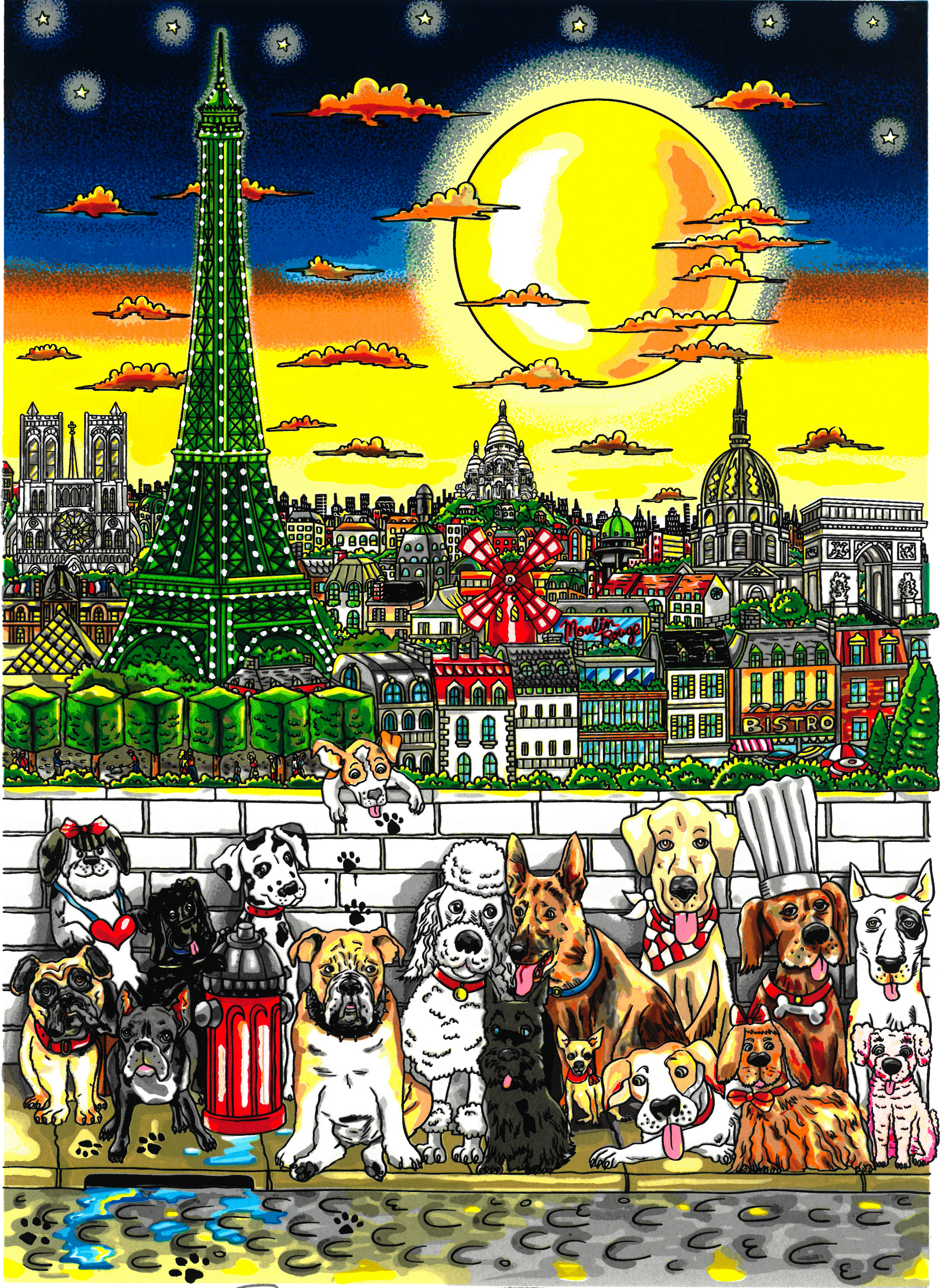 Charles Fazzino Paws in Paris (DX) - Framed