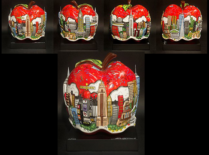 Charles Fazzino Pop Goes The Red Apple - Sculpture