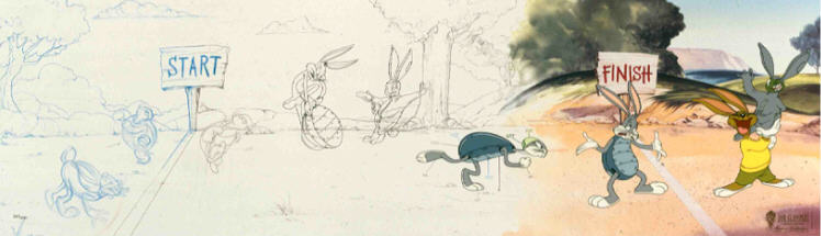 Bob Clampett Process of Animation - Bugs Bunny & Tortoise