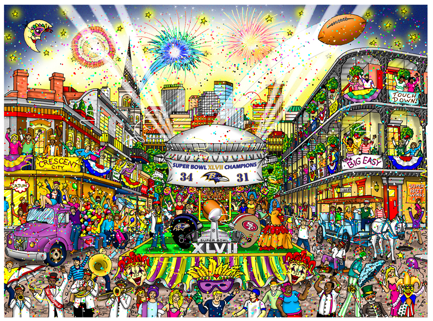 Charles Fazzino Super Bowl XLVII: New Orleans (SN)