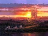 Rodel Gonzalez Limited Edition Giclee on Canvas Castle At Sunset