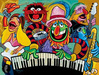 Tim Rogerson Limited Edition Giclee on Canvas Electric Mayhem Band - The Muppets