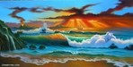 Jim Warren Limited Edition Giclee on Canvas Tropical Fanta - Sea